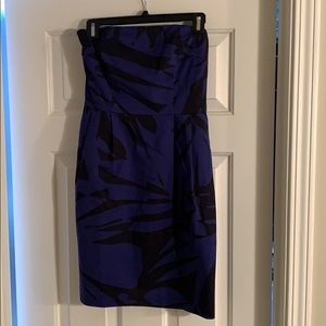 Strapless cobalt blue and black dress